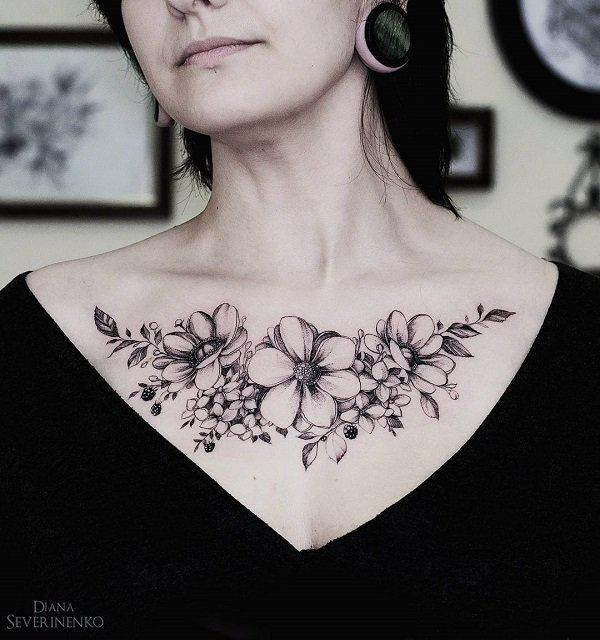flower  chest body art design ideas
