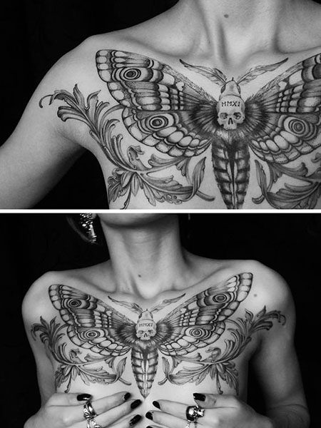 girl tattoo designs chest insect design