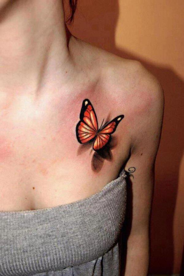butterfly tattoos on the chest for ladies