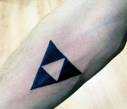 small triangle tattoo on hand