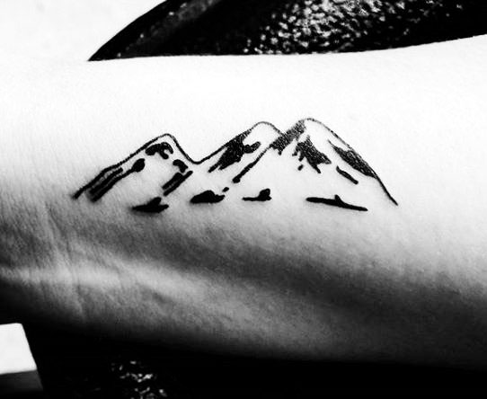 simple mountain tattoo ideas on arm for men