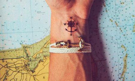 compass small wrist tattoo ideas for guys men
