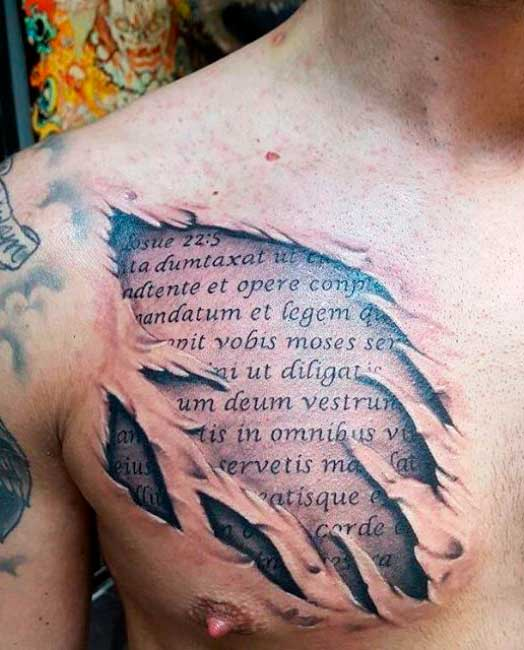 chest tattoos religious quotes