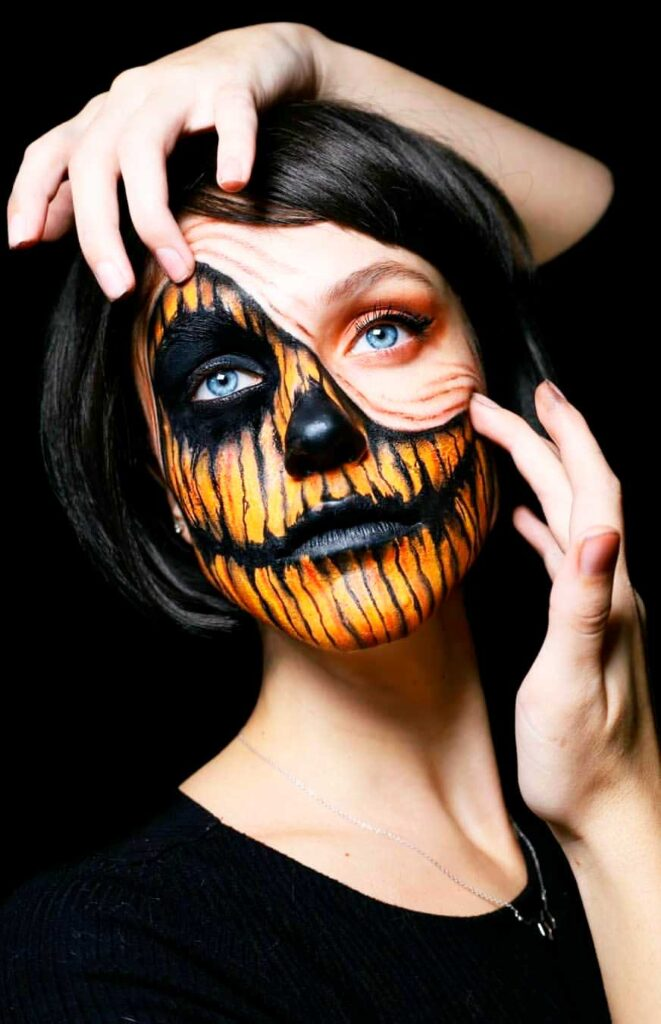 best face and body paint woman art photo