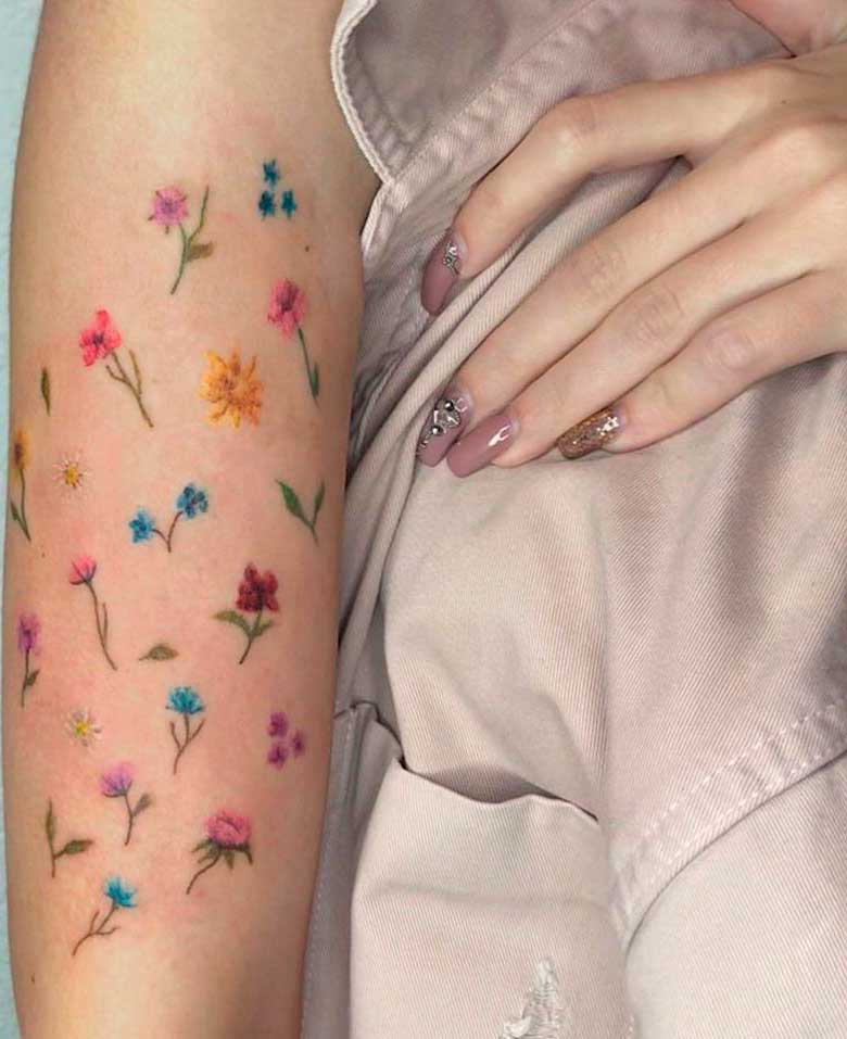colourful realistic flower tattoos for women and ladeis