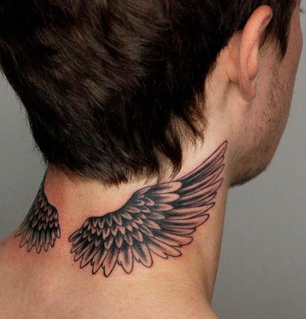 small neck tattoos male Designs