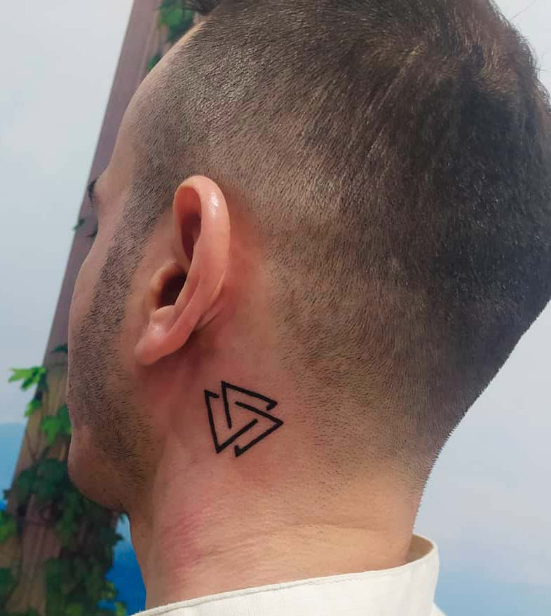 symbols small tattoos on neck for guys