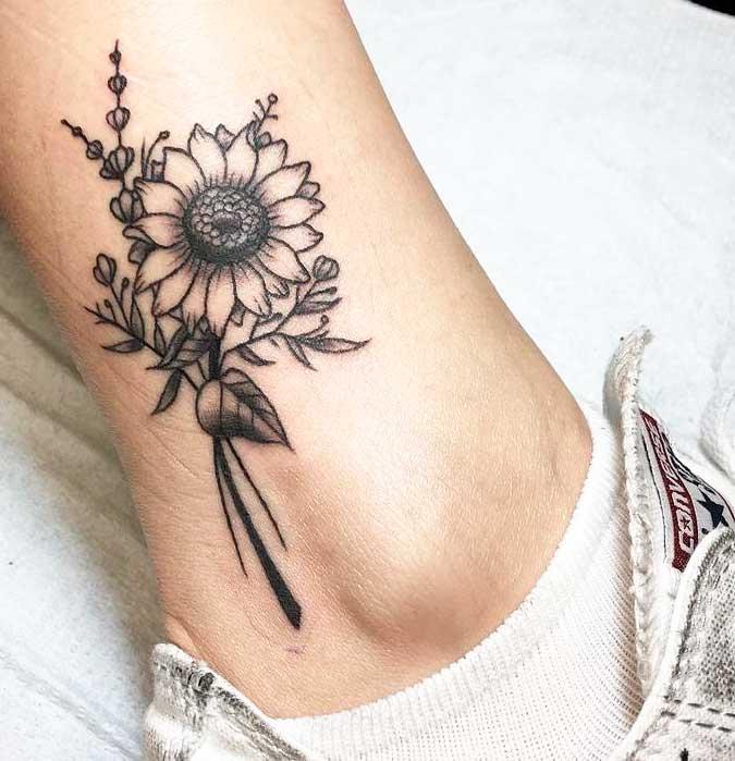 feet tattoo ideas for females sunflower white