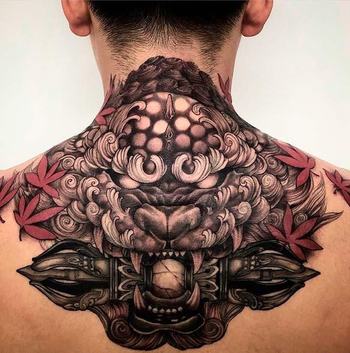 mens neck japanese tattoos Designs ideas