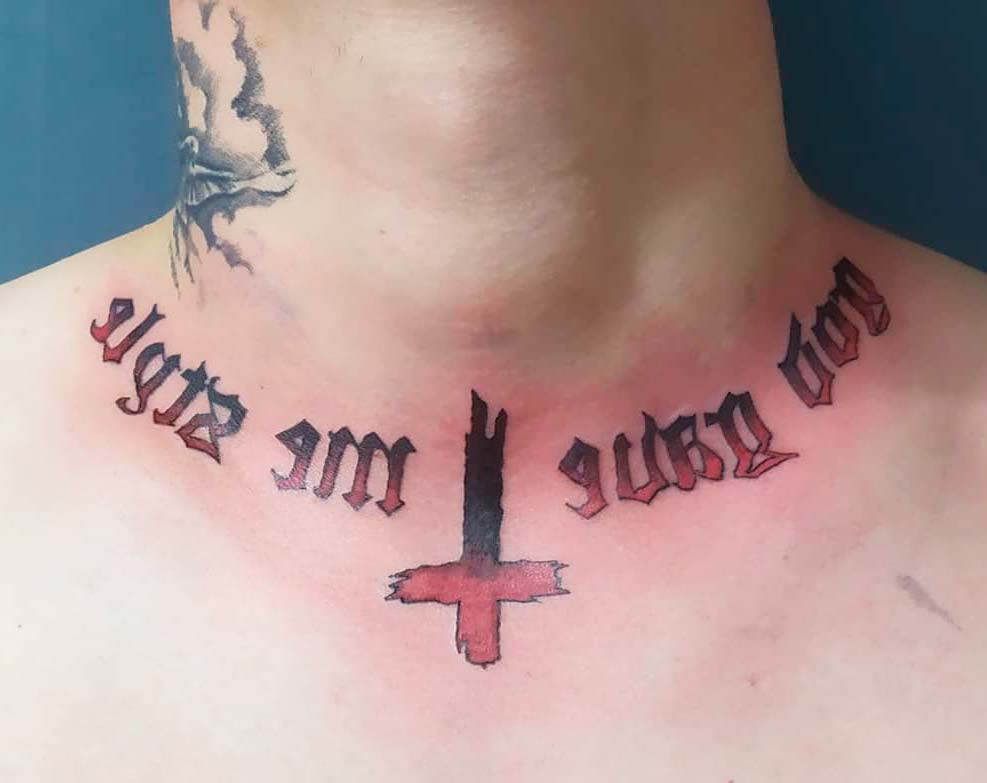 mens neck letters with cross tattoos