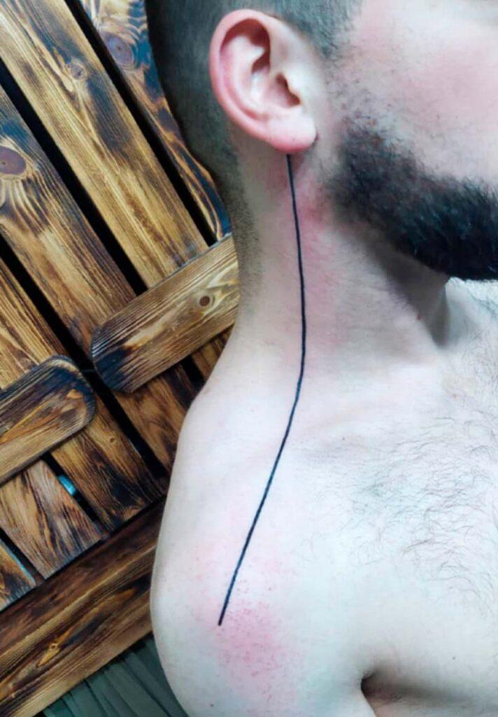 long line tattoos for men neck design