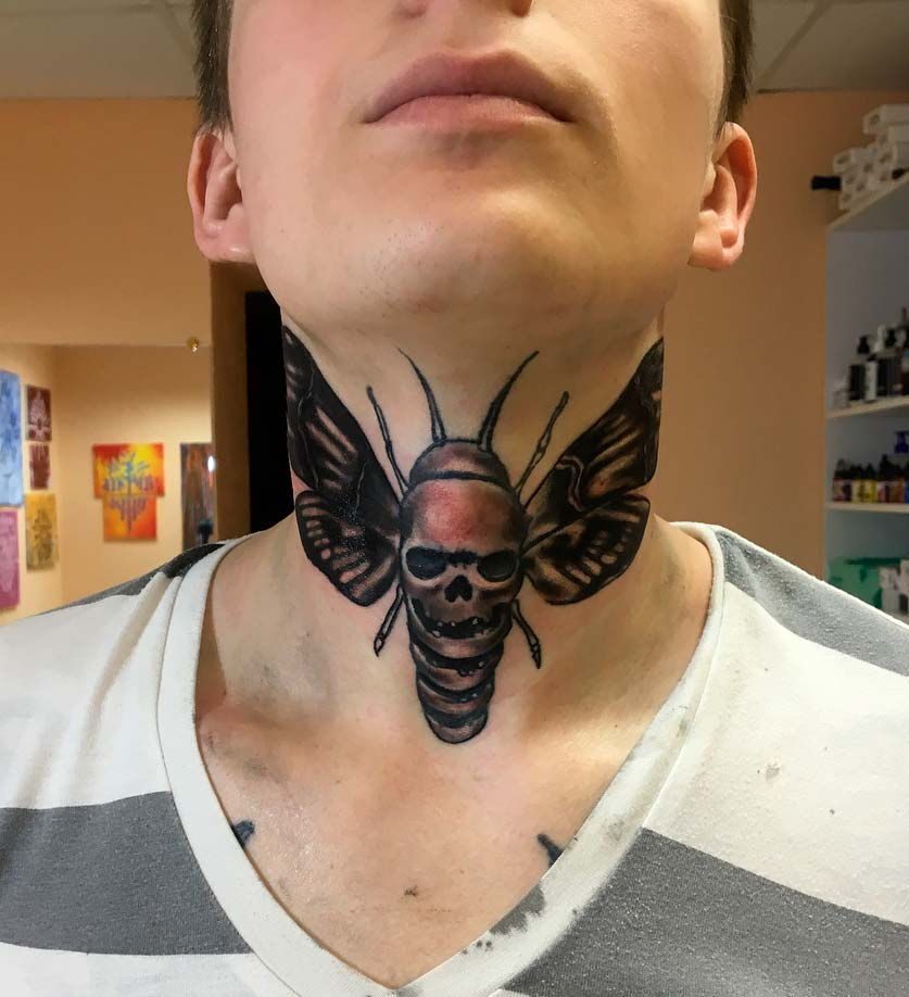 front insects neck tattoo ideas