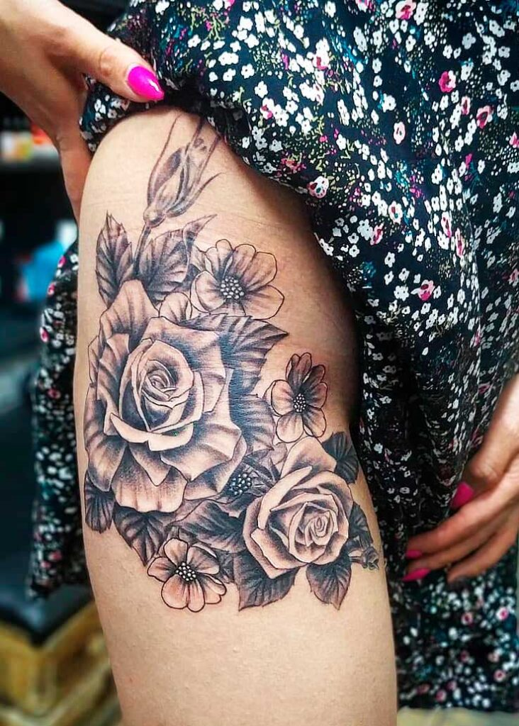 thigh leg tattoos for females ideas