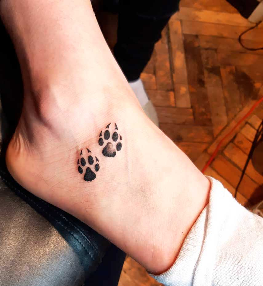 dog paws tattoo designs for ladies