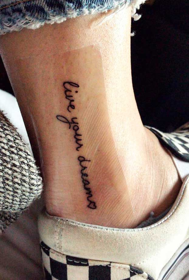 Letters  small leg tattoos for ladies