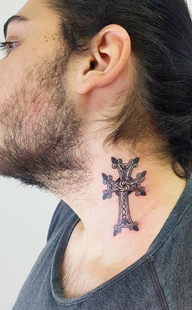 men's side neck   small cross  tattoos ideas