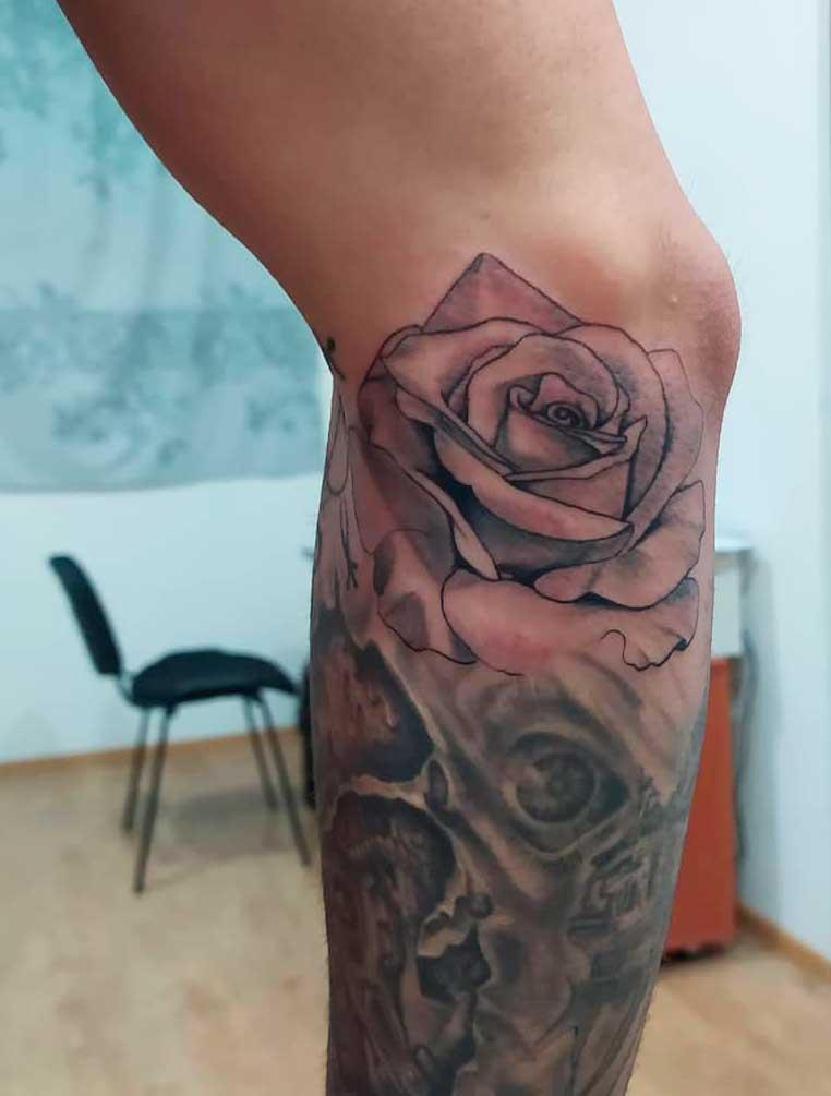 rose leg tattoo women ideas and design