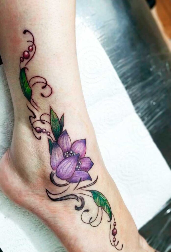 BRIGHT, FLORAL TATTOO ideas for feet and ankles