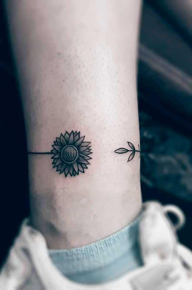 around ink art on leg for girl