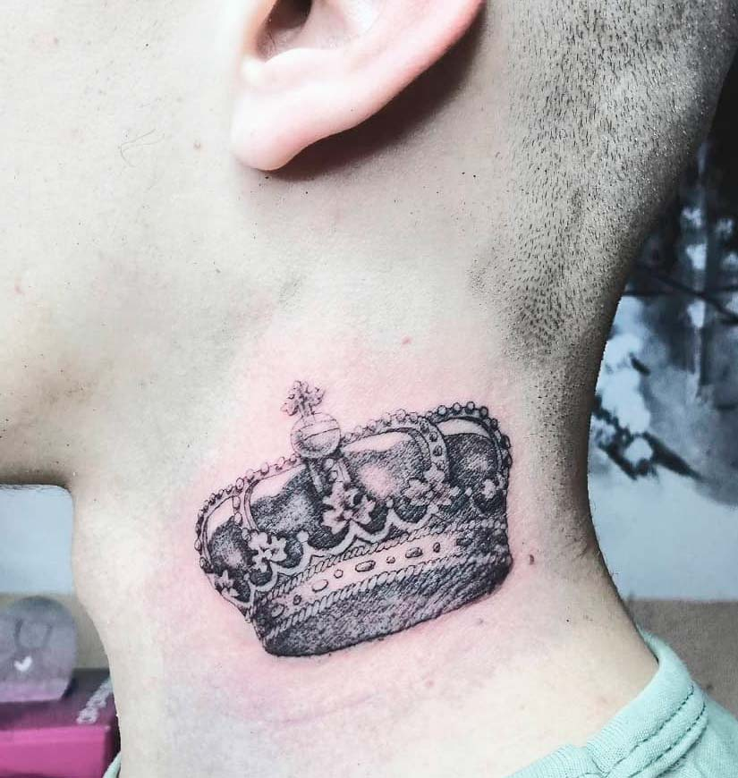 Crown small neck tattoos for guys ideas design