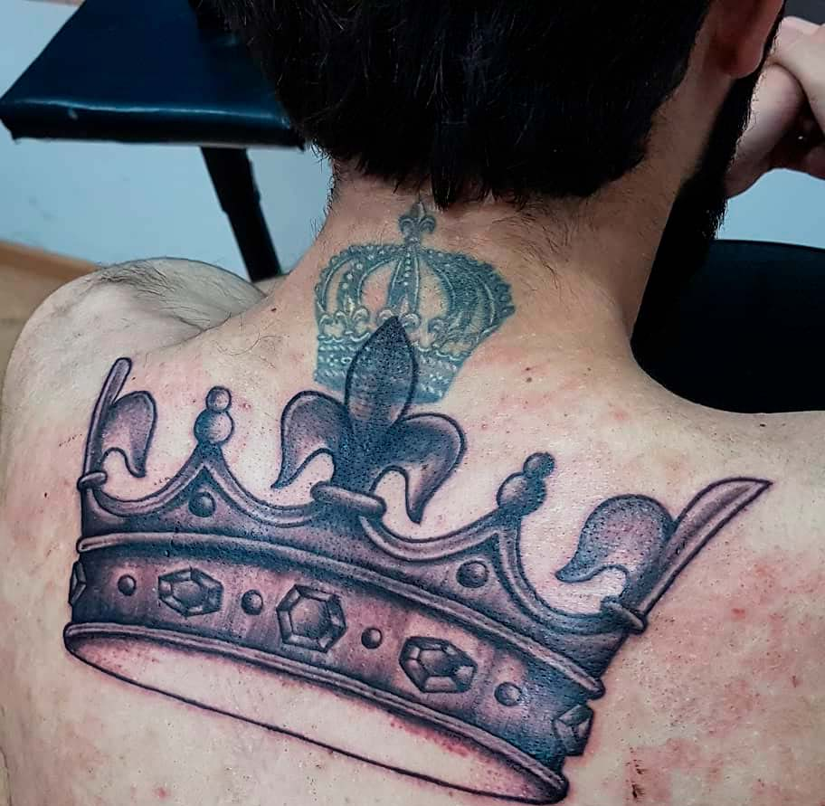 big Crown Tattoo Ideas for Men and guys design ideas