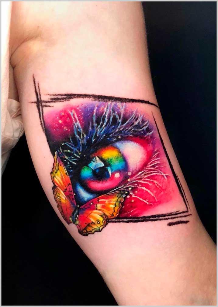 colourful  forearm tattoo female small design images